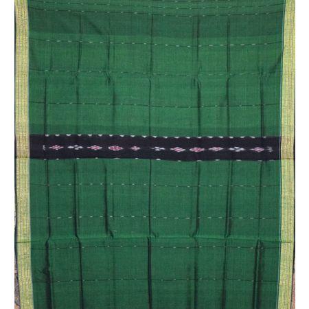 Deep Green With Black Handloom Lining Bandha Cotton Saree Of Odisha AJ001447