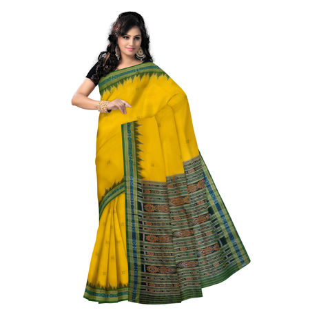 OSS5167: Yellow with Green Handloom Silk Saree.