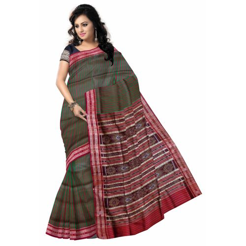 OSS5113: Fish Motif s Green Handloom silk saree online shopping.