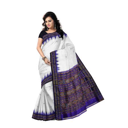 OSS293: Butti design white-blue silk saree for ethnic wear