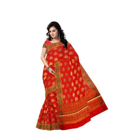 Light Red With Golden Handloom Buti Design Banaras cotton Silk Saree of Uttar Pradesh AJ001598