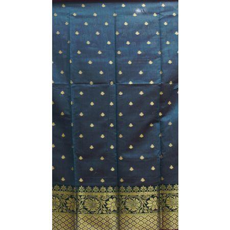 Silver Green With Gold Handloom Cotton silk Dress Material of Banaras AJ001807