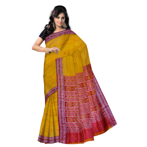 OSS5080: Yellow Silk Saree with fish motif s on border and Aanchal.