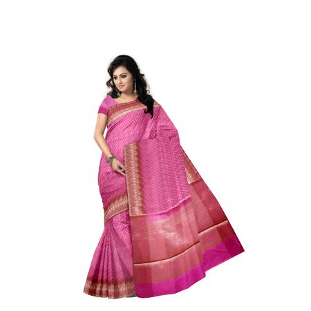 Dull Pink With Silver Handloom Buti Design Banaras cotton Silk Saree of Uttar Pradesh AJ001583