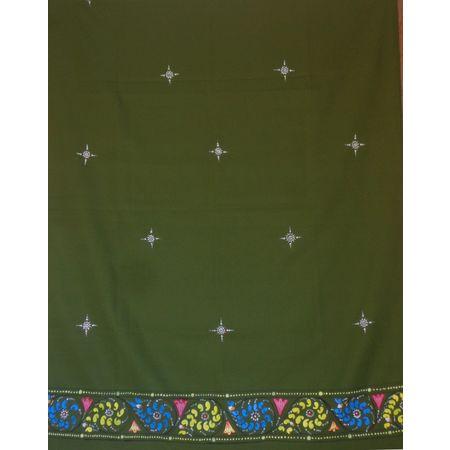 OSS300065: Green Color handicraft patachitra dupatta.
