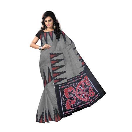 OSS7512: Grey colour Kargil design Cotton sarees of Nuapatna