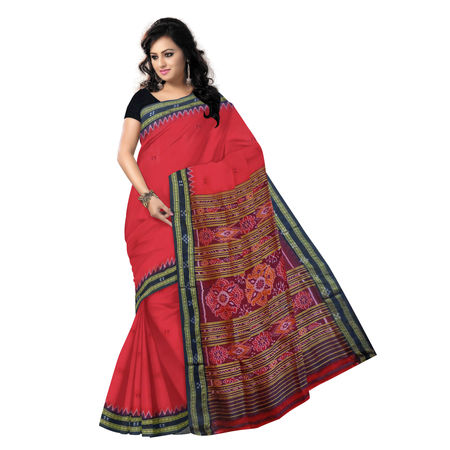 OSS5124: Traditional Red-Black combination Ikat Silk handloom sari.