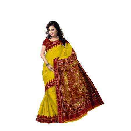 Buti Design Light Yellow With Red Handloom silk saree of Odisha Nuapatna AJ001570