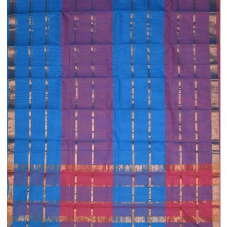 Blue with Golden Handloom Kanchi cotton saree Of AJ001244