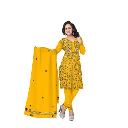 Yellow Embroidery Work Handloom Cotton Dress Material of West Bengal AJ001473