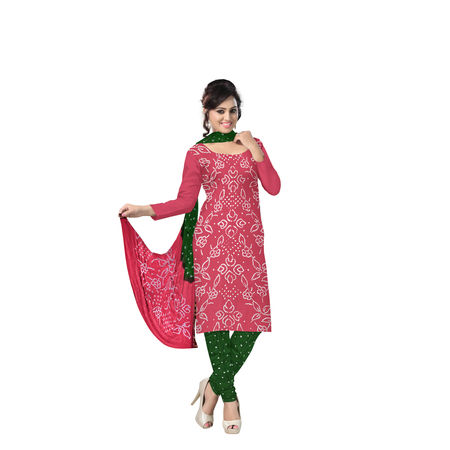 Green with Maroon Bandhani Dress Material in Cotton with Dupatta in Zari BorderAJ0109