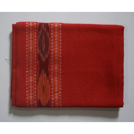 Handwoven Red Color Sambalpuri Cotton Blouse Piece AJ002059