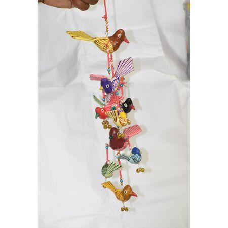 OHP072: Paper mache handicraft of Chimes with Birds wall hanging.