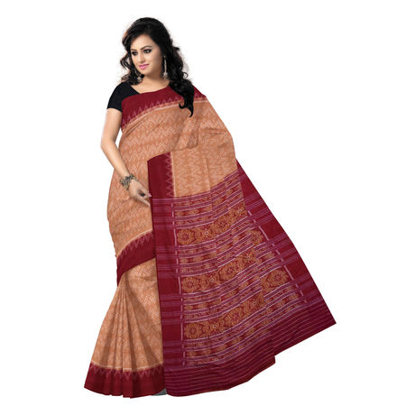 OSS7438: Brown-Maroon combination Alpana design handmade cotton saree