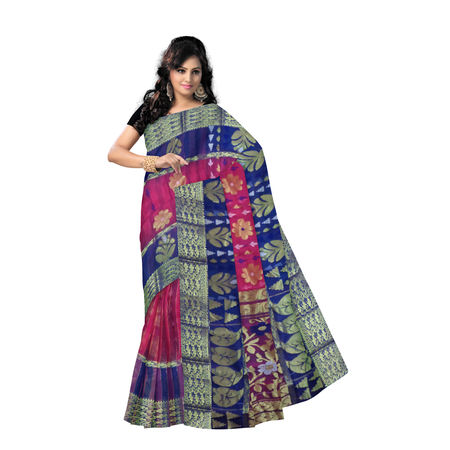 OSSWB9035: Deep Magenta Jamdani with Navy Blue Border West Bengal Handwoven Resham Silk Saree.