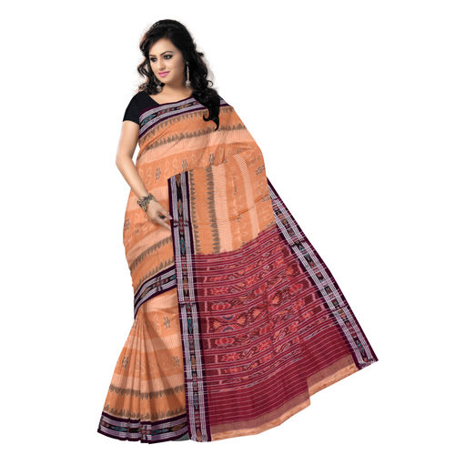 OSS201: Orange-Maroon Colour Laxmi Feet design Handmade Cotton Saree