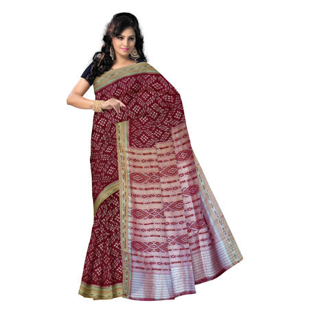 OSS282: Unique design handwoven maroon Silk saree