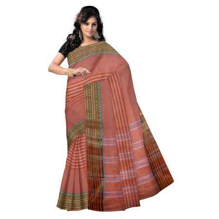 OSSWB9014: Orange with Golden Zari border handloom cotton saree.