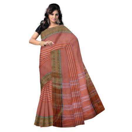 OSSWB9014: Orange with Golden Zari border handloom cotton saree.
