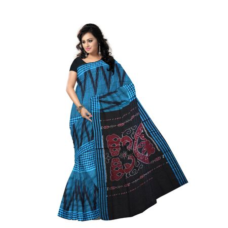 AJ000154: Temple Design Handloom Kargil design Blue Cotton saree.