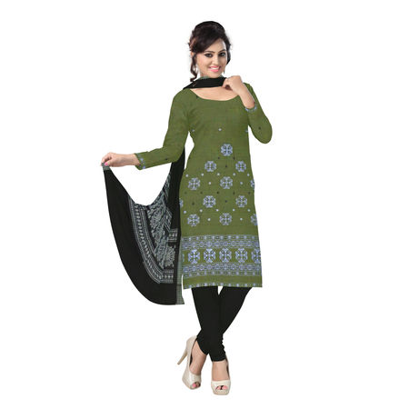 OSS6248: Olive Green and Black colour Bomkai design Salwar Kameez Materials online