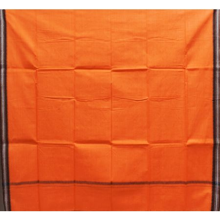 Orange With Faded Brown Color Combination Of Handloom Plain Design Towel Of Sambalpur, Odisha AJ001755