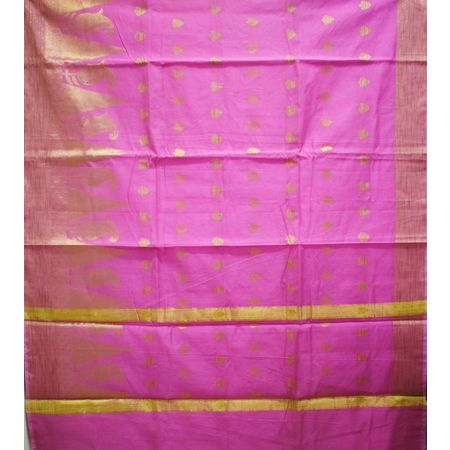 Levender Pink With Golden Handloom Temple Design Banaras cotton Silk Saree of Uttar Pradesh AJ001580