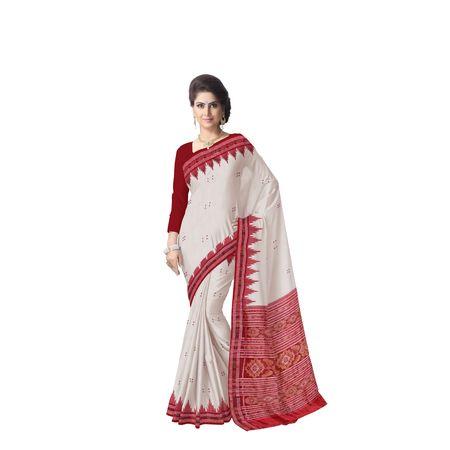 White With Red Handloom Khandua Silk Saree Of Odisha Nuapatna AJ001390