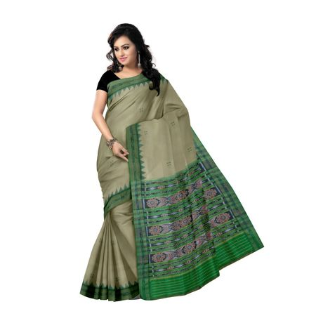 OSS5076: Tusser color Traditional Handwoven Silk saree for festival wear.
