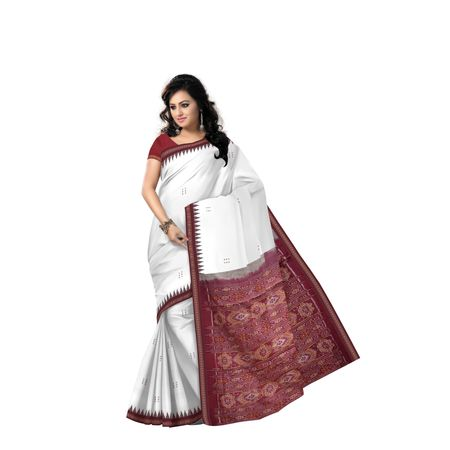 Tusser Color With Maroon Handloom Cotton Saree with Blousepiece AJ001378