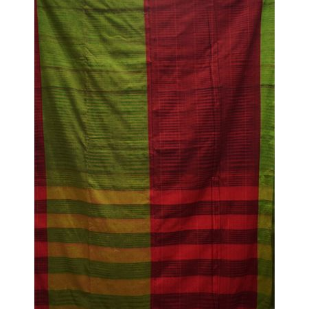 Light Green With Maroon Color Handloom Jharana Design Cotton Saree Of West Bengal AJ001657