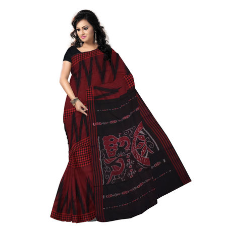 OSS7015: Check-Kargil design red handmade cotton saree