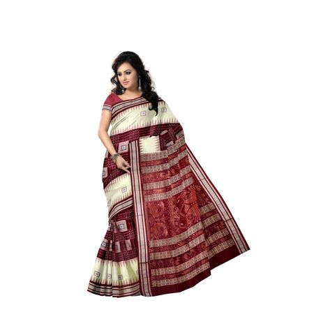 Sandal with Maroon Handloom Bomkai Design Cotton saree with Blouse Piece AJ001223
