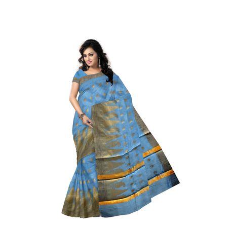 Sky Blue With Golden Handloom Temple Design Banaras cotton Silk Saree of Uttar Pradesh AJ001576