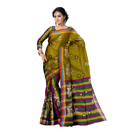 OSSWB007: Flower Naksha with baha cotton saree.