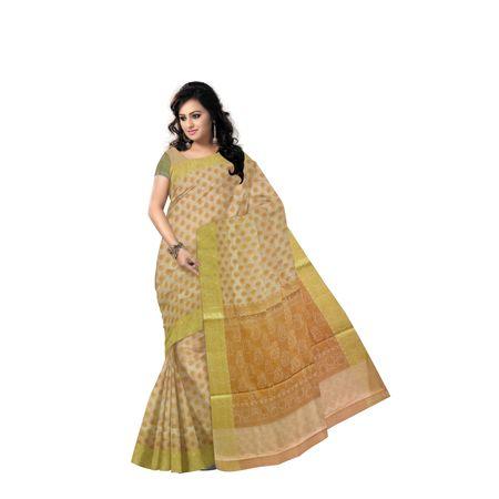 Reddish Grey With Golden Handloom Buti Design Banaras cotton Silk Saree of Uttar Pradesh AJ001592
