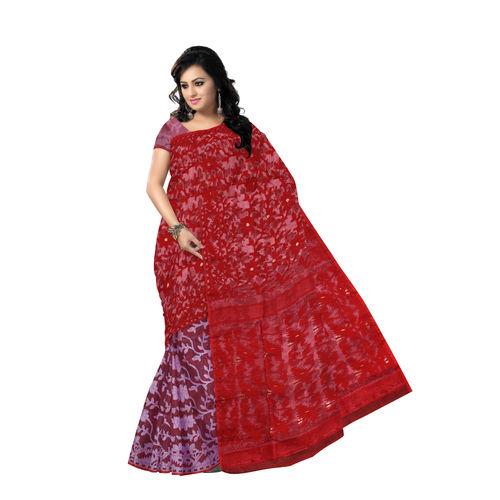 OSSWB9053: Beautiful Red-white Dhakai Jamdani Saree of Bengal
