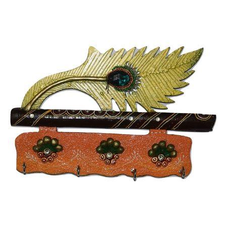 Jaipur Handmade Crafts Beautiful Mor. Pankhi Wooden Key Holder ( 4 Hooks) AJ001411