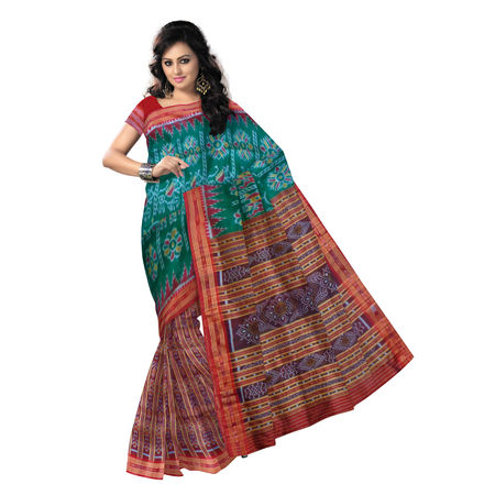 OSS015: Green with Maroon sambalpuri handloom Soft Silk Saree from Odisha