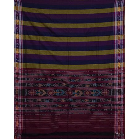 AJ001155: Multicolor Ikat Handloom Cotton Saree of Odisha.