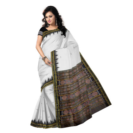 OSS174: White color Traditional Handwoven Ikat Silk Sari