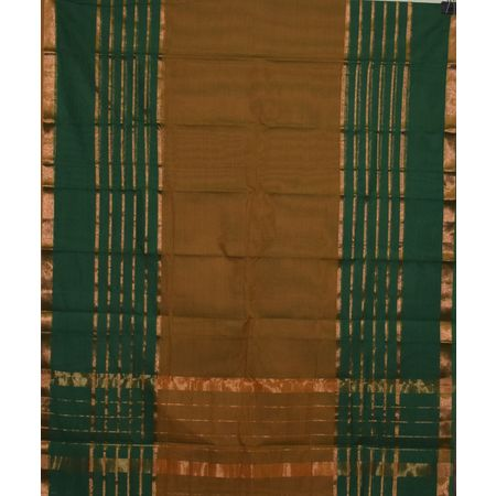 Deep Green with Golden Handloom Kanchi Cotton saree Of AJ001239