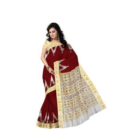 Temple Design Deep Red with Pinkish Grey Handloom khandua silk saree of Odisha, Nuapatna AJ001572
