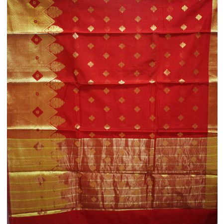 Light Red With Golden Handloom Temple Design Banaras cotton Silk Saree of Uttar Pradesh AJ001577