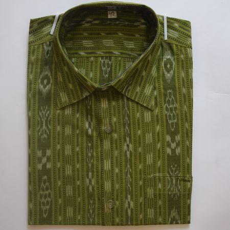 Exclusive Olive Green Handwoven Sambalpuri Ikat Cotton Gents Half Shirt AJ002126