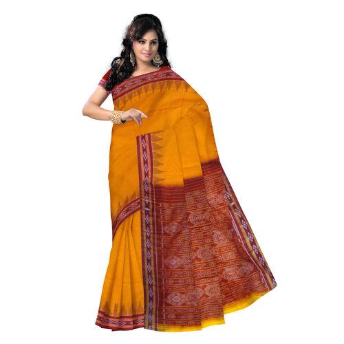 OSS124: Handloom Vat Golden color cotton sarees for festival wear