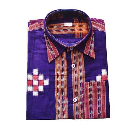 Violet With Multi Handloom Half Shirt for Men Made in Odisha Sambalpur AJ001730