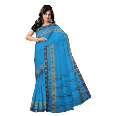 OSSWB9013: Blue color handwoven west bengal cotton saree