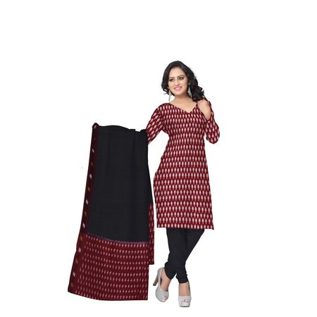 Unstitched Women's Handloom Red with Black Ponchampally Ladies cotton Dress Material with Dupatta AJ001329