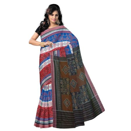 OSS9080: Multicolor handwoven sambalpuri cotton saree with beautiful design.